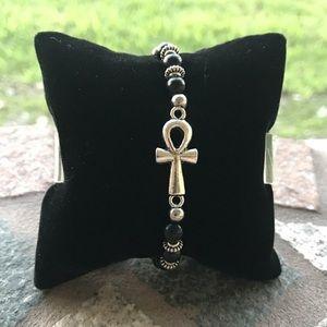 Genuine shinny onyx silver plated ankh bracelet